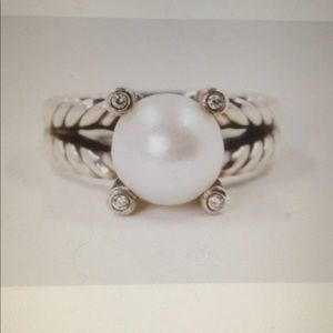 DY 10mm Pearl Diamond Ring Sz 6